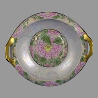 "MZ Austria Floral Design Handled Bowl (Signed ""O. Hirschinger""/c.1910-1930)"