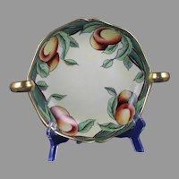 "D&Co. Limoges Peach/Fruit Design Handled Serving Dish/Tray (Signed ""A.O. Balthazar""/c.1910-1930)"