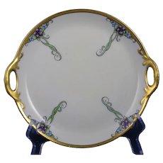 """German Porcelain Floral Design Plate (Signed """"L.F. Wright""""/c.1910-1930)"""