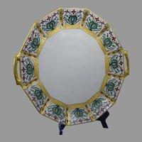 """Coiffe Limoges Floral Design Serving Plate/Charger (Signed """"M.R.K.""""/c.1910-1930)"""