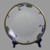 """D&Co. Limoges Violet Design Plate (Signed """"E.P.B.""""/c.1910-1930)"""