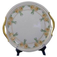 """Bavarian Porcelain Enameled Floral Design Serving Plate (Signed """"A.E. Graftstrom""""/c.1910-1930)"""