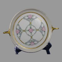 "Czechoslovakia Floral Design Serving Plate/Dish (Signed ""M.E.B.""/Dated 1935)"