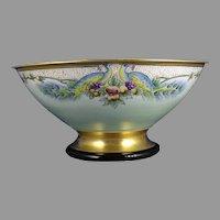 Czechoslovakian Porcelain Peacock & Fruit Design Centerpiece Bowl (Signed/c.1918-1936) - Keramic Studio Design
