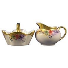 "Hutschenreuther Bavaria ""Woodbine"" Design Creamer & Sugar Set (Signed ""M. Paddock""/c.1920-1938) - Keramic Studio Design"