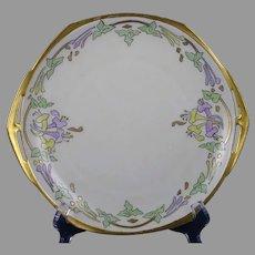 "MZ Czechoslovakia Floral Design Handled Plate (Signed ""EHR""/c.1918-1939)"