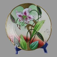 Graves China Co. St. Louis - Jaeger & Co. Bavaria Lily Design Plate (Signed/c.1905-1930)