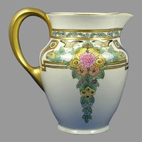 "B&Co. Limoges Floral & Butterfly Design Pitcher (Signed ""Moser""/c.1910-1930)"