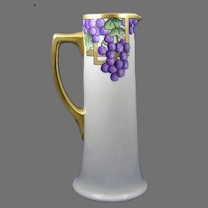 "PH Leonard Austria Grape Design Pitcher/Ewer (Signed ""RMS""/c.1910-1930)"
