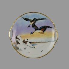 "Bavaria Porcelain Duck/Bird Motif Handled Plate (Signed ""L.E. Schandis""/c.1910-1930)"