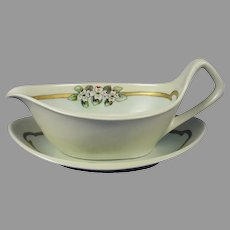 "RS Germany Dogwood Flower Design Sauce Dish Set (Signed ""C. Firman""/c.1904-1930)"