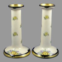 "B&Co. Limoges Enameled Floral Design Candlesticks (Signed ""Skiff""/c.1910-1930)"