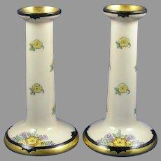 """B&Co. Limoges Enameled Floral Design Candlesticks (Signed """"Skiff""""/c.1910-1930)"""