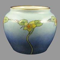 """Epiag Czechoslovakia Floral/Nasturtium Design Vase (Signed """"E.B.C.""""/c.1918-1936)"""
