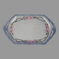 "MZ Austria Wild Rose Design Trinket Dish/Tray (Signed ""Isabell Sloam""/c.1900-1930)"