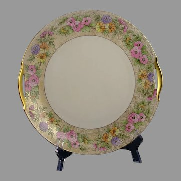 "KPM Germany Floral Design Handled Plate (Signed ""L. Roberts""/Dated 1915)"