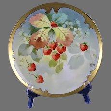 "Haviland Limoges Pitkin & Brooks Strawberry Design Plate (Signed ""A. Piron""/c.1895-1910)"