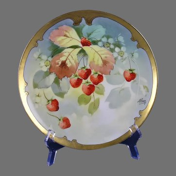 "Haviland Limoges Pitkin & Brooks Strawberry Design Plate (Signed ""A. Piron""/c.1895-1910)"