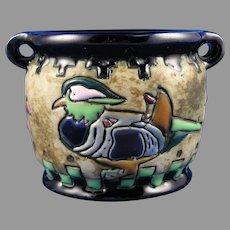 """Amphora Austria Arts & Crafts """"Campina"""" Duck/Bird Design Vase (c.1905-1910)"""