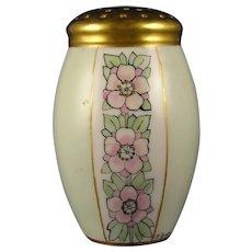 """Porcelain Blank Floral Design Muffiner/Sugar Shaker (Signed """"M. Rankin""""/c.1910-1930)"""