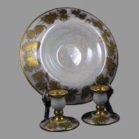 "Gold Pinecone Design Centerpiece Bowl & Candlesticks Set (Signed ""E.C. Leonhard""/Dated 1929)"