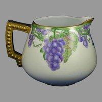 Bavaria Porcelain Grape Design Cider/Lemonade Pitcher (Signed/Dated 1912)