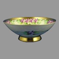 """Pickard Studios """"Violets In Panel"""" Design Bowl (Signed """"Wagner""""/c.1905-1910)"""