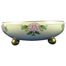 T&V Limoges Floral Design Footed Bowl (c.1909-1930) - Keramic Studio Design