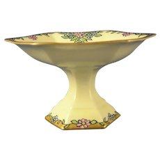 """B&Co. Limoges Floral Design Pedestal Dish (Signed """"E. Innig""""/c.1914-1930)"""
