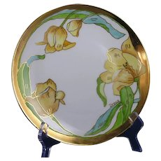 "Hutschenreuther Tulip Design Plate (Signed ""Irene""/c.1900-1920)"