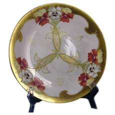 "Pickard Studios ""Fisher Pansies & Raised Gold"" Design Plate (c.1905-1910)"