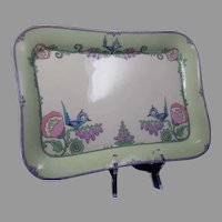 Lenox Belleek (American) Enameled Bird & Floral Design Tray (c.1906-1924)