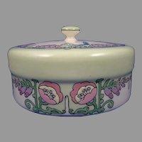 Lenox Belleek (American) Enameled Bird & Floral Design Covered Dish/Dresser Jar (c.1906-1924)