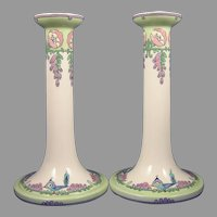 Lenox Belleek (American) Enameled Bird & Floral Design Candlesticks (c.1906-1924)