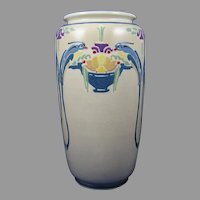 "American Satsuma Bird of Paradise & Fruit Basket Motif Vase (Signed ""E. Anderson""/c.1910-1930)"