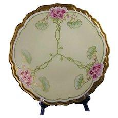 "Blakeman & Henderson (B&H) Limoges Geranium Design Plate/Charger (Signed ""Baumy""/c.1900-1918)"