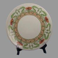"Limoges ""Mark 6"" Poppy Border Design Plate (Signed ""M.H.O.""/c.1901-1930) - Keramic Studio Design"