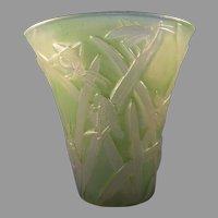 Consolidated Glass Co. Green Wash Martele Katydid Design Vase (c.1926-1933)