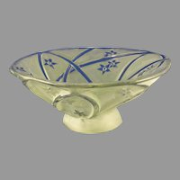 Consolidated Glass Co. Martele Green Wash Line 700 Design Bowl (c. 1926-1933)