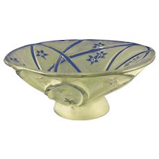 Consolidated Glass Co. Martele Green Wash Line 700 Design Bowl (c. 1920's)