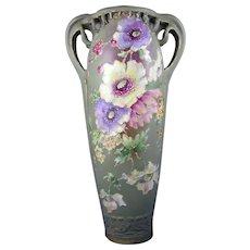Riessner Stellmacher & Kessel (RStK) Amphora Austria Art Nouveau Enameled Floral Design Vase (c.1899-1910)