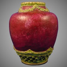 Ernst Wahliss Alexandra Porcelain Works Amphora Austria Red Garland & Lattice Design Vase (c.1908-1915)