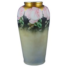 """Zeh Scherzer & Co. (ZS&Co.) Bavaria Rose Motif Vase (Signed """"B.P.B.""""/c.1880-1930)"""