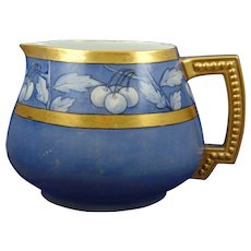 "Jean Pouyat (JP) Limoges Arts & Crafts Blue Cherry Motif Cider Pitcher (Signed ""O.F. Smith""/c.1890-1932)"
