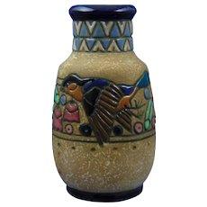 Amphora Austria Arts & Crafts Campina Sparrow Design Vase (c.1905-1910)