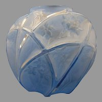 """Consolidated Glass Blue Wash Martele """"Line 700"""" Design Vase (c. 1926-1933)"""