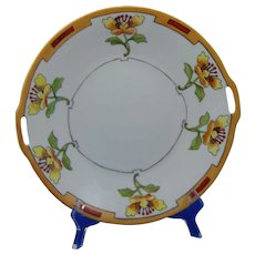Heinrich & Co. (H&Co.) Selb Bavaria Arts & Crafts Stylized Floral Design Handled Plate (c.1900-1930)