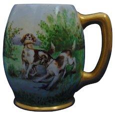 "Ceramic Arts Co. (CAC) Belleek Arts & Crafts Hunting Dog Motif Mug/Tankard (Signed ""Margaret B.""/Dated 1906)"