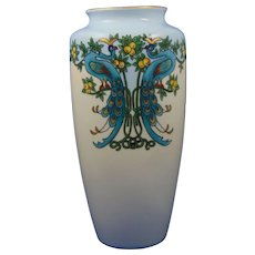 Bavaria Peacocks & Citrus Motif Vase (c.1910-1940) - Keramic Studio Design - Red Tag Sale Item