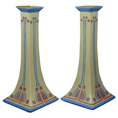 "B&Co. Limoges Arts & Crafts Candlestick Pair (Signed ""Maude Rissinger""/c.1900-1914)"